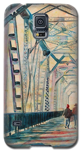 Train Galaxy S5 Case - Foggy Morning On The Railway Bridge IIi by Jenny Armitage