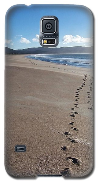 Galaxy S5 Case featuring the photograph Footsteps In The Sand by Peter Mooyman