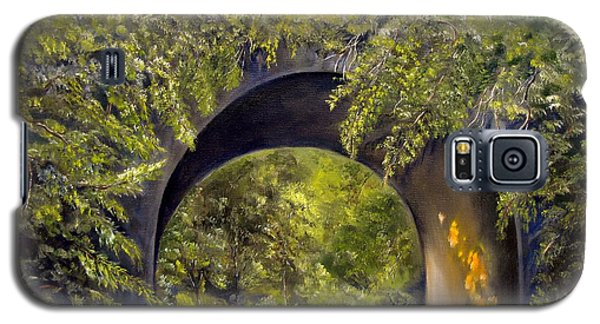 Galaxy S5 Case featuring the painting Forgotten Train Bridge by Carol Sweetwood