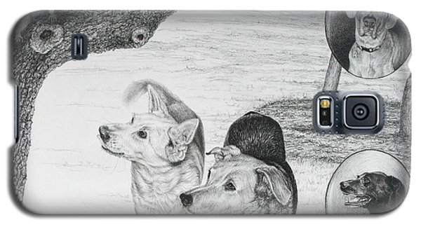 Galaxy S5 Case featuring the drawing Four Dogs And A Squirrel by Mike Ivey