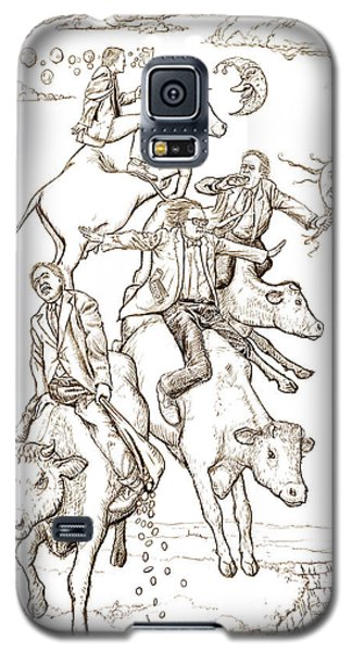 Galaxy S5 Case featuring the digital art Four Mad Cowboys Of The Apocalypse by Russell Kightley