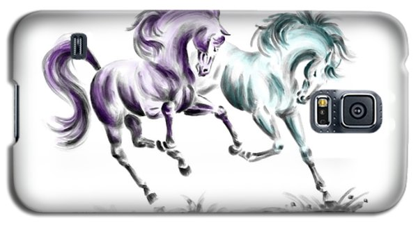 Galaxy S5 Case featuring the drawing Frolicking - Wild Horses Print Color Tinted by Kelli Swan