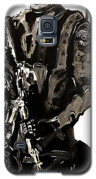 Galaxy S5 Case featuring the painting Full Length Figure Portrait Of Swat Team Leader Alpha Chicago Police In Full Uniform With War Gun by M Zimmerman MendyZ