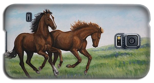 Galaxy S5 Case featuring the painting Galloping Horses by Penny Birch-Williams