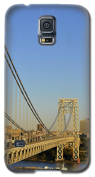 Galaxy S5 Case featuring the photograph George Washington Bridge And Boat by Zawhaus Photography