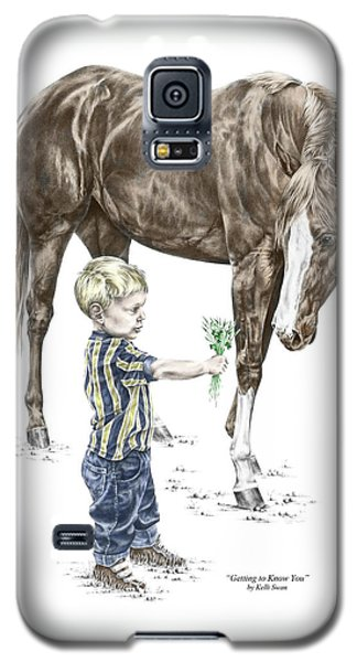 Galaxy S5 Case featuring the drawing Getting To Know You - Boy And Horse Print Color Tinted by Kelli Swan