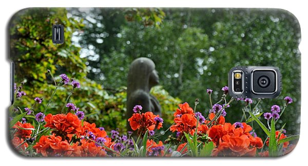 Galaxy S5 Case featuring the photograph Girl Behind Red Geraniums by Tanya  Searcy