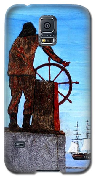 Gloucester Harbor - Us Frigate Constitution And Man At The Wheel Galaxy S5 Case