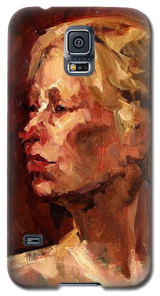 Galaxy S5 Case featuring the painting Golden Hair Portrait Of Woman Head In Crimson Yellow Hardworking Fieldworker Mother Whos Thoughtful by M Zimmerman MendyZ