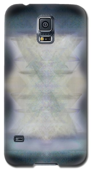 Galaxy S5 Case featuring the digital art Golden Light Chalices Emerging From Blue Vortex Myst by Christopher Pringer