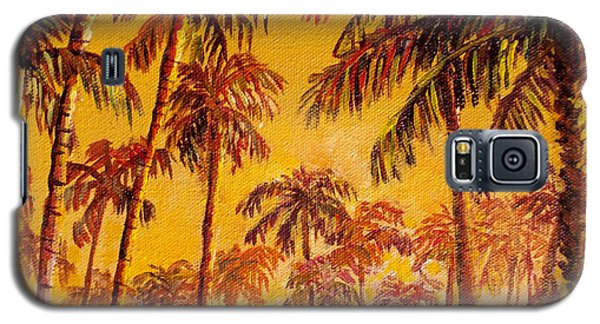 Galaxy S5 Case featuring the painting Golden Palm Trees by Lou Ann Bagnall
