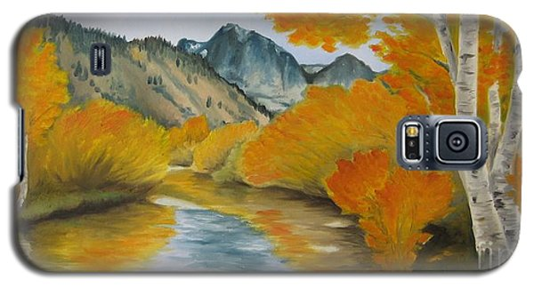 Galaxy S5 Case featuring the painting Golden Serenity by Jindra Noewi