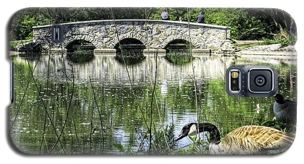 Galaxy S5 Case featuring the photograph Goose And Bridge At Silver Lake by Tom Gort