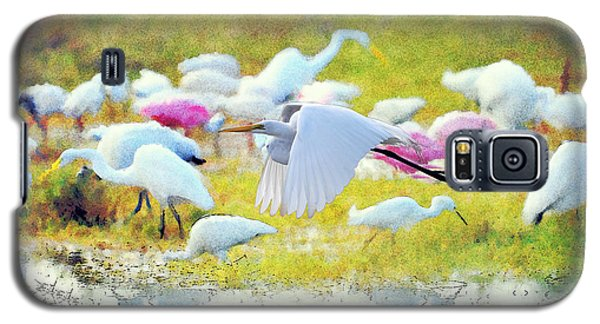Galaxy S5 Case featuring the photograph Great Egret Flying by Dan Friend