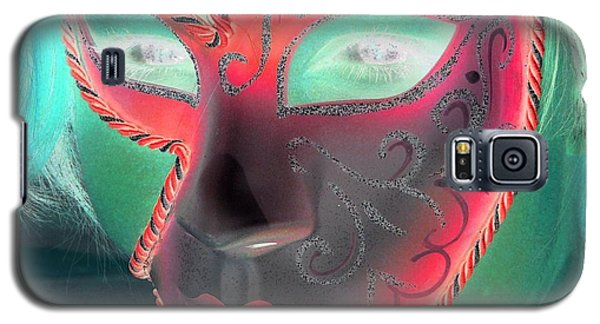 Galaxy S5 Case featuring the photograph Green Girl With Red Mask by Rdr Creative