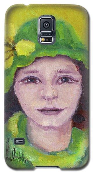 Green Hat Face Galaxy S5 Case by Rachel Hershkovitz