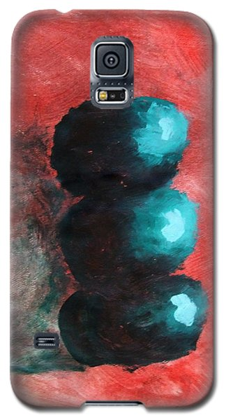 Galaxy S5 Case featuring the painting Green Impressionist Apples Stacked On Abstracted Red Background Still Life Of Kitchen Food Dessert by M Zimmerman MendyZ