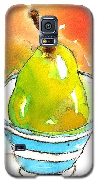 Green Pear In Blue Striped Bowl Galaxy S5 Case