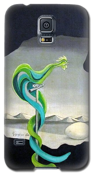 Green Rooster Call 2 In Surrealistic Frame Background Blue Tail Feathers Mountains Landscape And Egg Galaxy S5 Case
