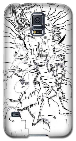 Galaxy S5 Case featuring the drawing Gule Wamkulu - Malawi by Gloria Ssali