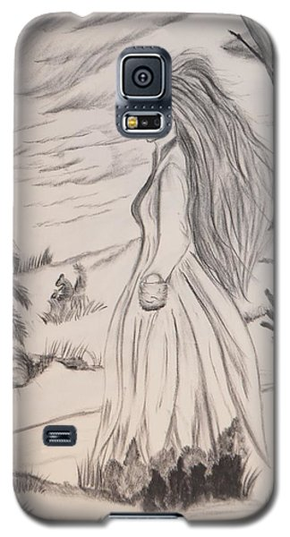 Galaxy S5 Case featuring the drawing Halloween Witch Walk by Maria Urso