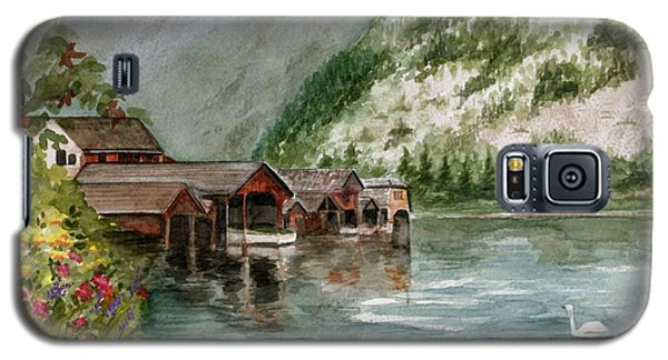 Galaxy S5 Case featuring the painting Hallstatt In The Spring  by Nancy Patterson
