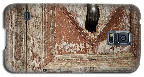 Galaxy S5 Case featuring the photograph Hand Knocker And Weathered Wooden Doors by Agnieszka Kubica