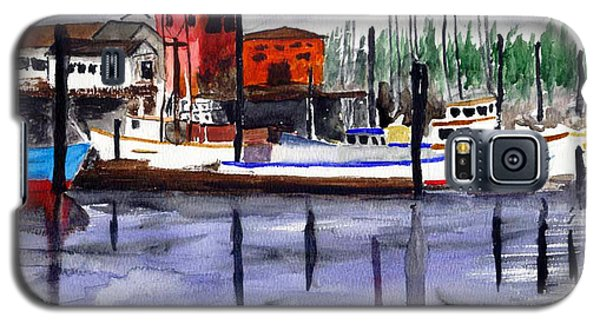 Galaxy S5 Case featuring the painting Harbor Fishing Boats by Chriss Pagani