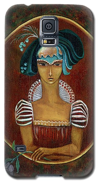 Hat Dream Fantasy Woman Face With Dramatic  Blue Hat Old Style Red Dress With White Lace Sleeves  Galaxy S5 Case by Rachel Hershkovitz