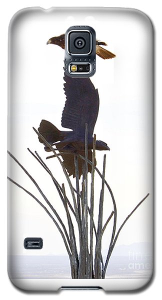 Galaxy S5 Case featuring the photograph Hawk On Statue by Rebecca Margraf