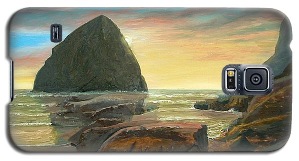 Galaxy S5 Case featuring the painting Haystack Kiwanda Sunset by Chriss Pagani