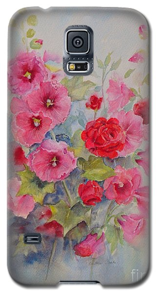 Galaxy S5 Case featuring the painting Hollyhocks And Red Roses by Beatrice Cloake