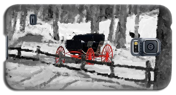 Galaxy S5 Case featuring the photograph Horse And Buggy - No Work Today - Abstract by Janice Adomeit