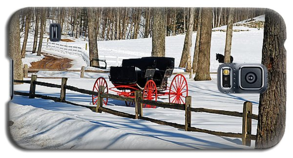 Galaxy S5 Case featuring the photograph Horse And Buggy - No Work Today by Janice Adomeit
