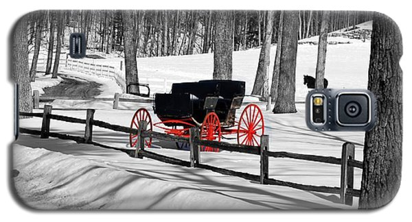 Galaxy S5 Case featuring the photograph Horse And Buggy - No Work Today No. 2 by Janice Adomeit