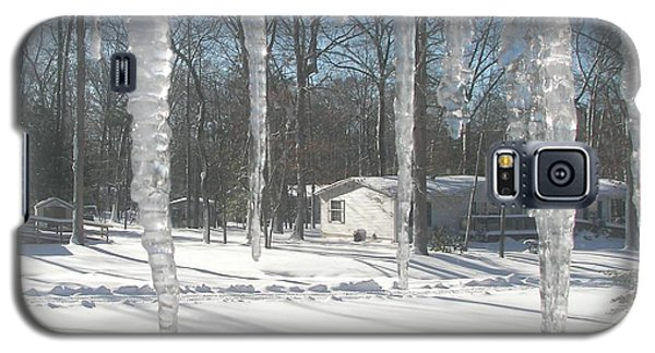 Galaxy S5 Case featuring the photograph Icicles Through The Window Glass by Pamela Hyde Wilson