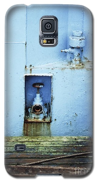 Galaxy S5 Case featuring the photograph Industrial Detail In Turquoise Blue by Agnieszka Kubica