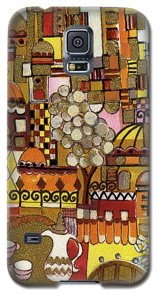 Jerusalem Alleys Tall 5  In Red Yellow Brown Orange Green And White Abstract Skyline Landscape   Galaxy S5 Case