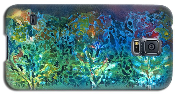Galaxy S5 Case featuring the mixed media Jeweled Trees by Arline Wagner