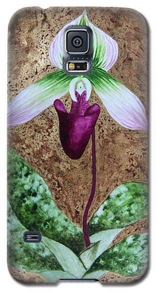 Lady Slipper Orchid With Gold Leaf Background Galaxy S5 Case by Kerri Ligatich