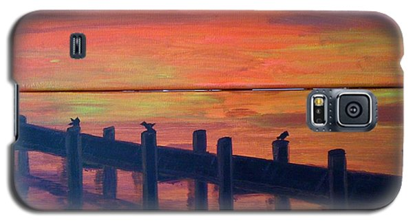 Galaxy S5 Case featuring the painting Lake Illawarra At Sunset by Judi Goodwin