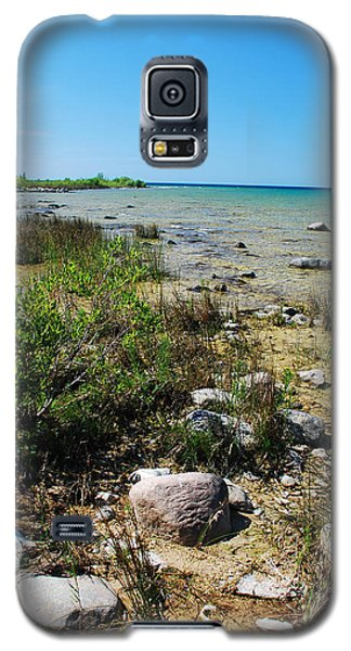 Galaxy S5 Case featuring the photograph Lake Michigan Shoreline On A Sunny Afternoon by Janice Adomeit