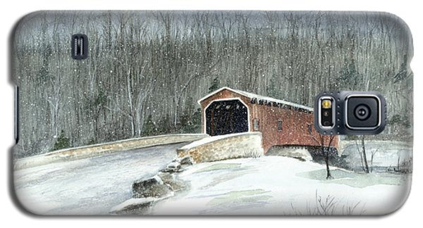 Galaxy S5 Case featuring the painting Lancaster County Covered Bridge In The Snow  by Nancy Patterson