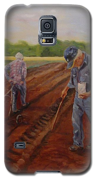 Galaxy S5 Case featuring the painting Laying Off Rows by Carol Berning
