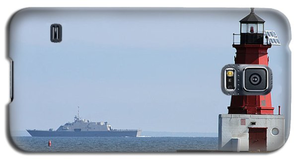 Galaxy S5 Case featuring the photograph Lcs3 Uss Fort Worth By The Menominee Lighthouse by Mark J Seefeldt
