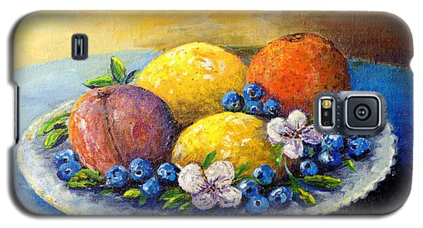 Galaxy S5 Case featuring the painting Lemons And Blueberries by Lou Ann Bagnall