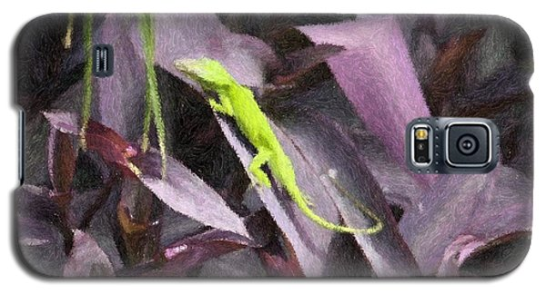 Galaxy S5 Case featuring the photograph Little Green Lizard by Donna  Smith