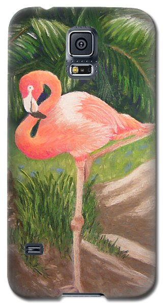 Galaxy S5 Case featuring the pastel Lone Flamingo by Diane Ferguson