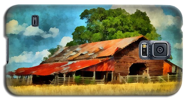 Galaxy S5 Case featuring the painting Long Road Barn by Lynne Jenkins