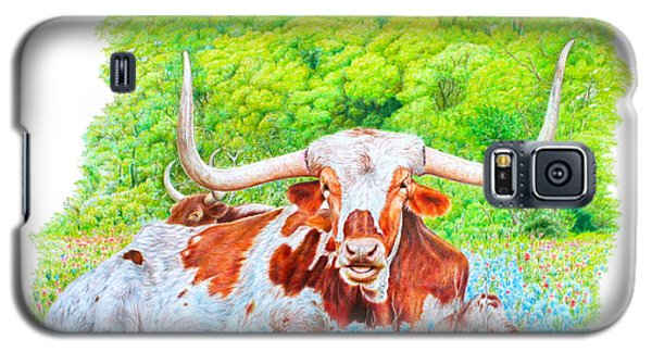 Galaxy S5 Case featuring the drawing Longhorns In Bluebonnets by Mike Ivey